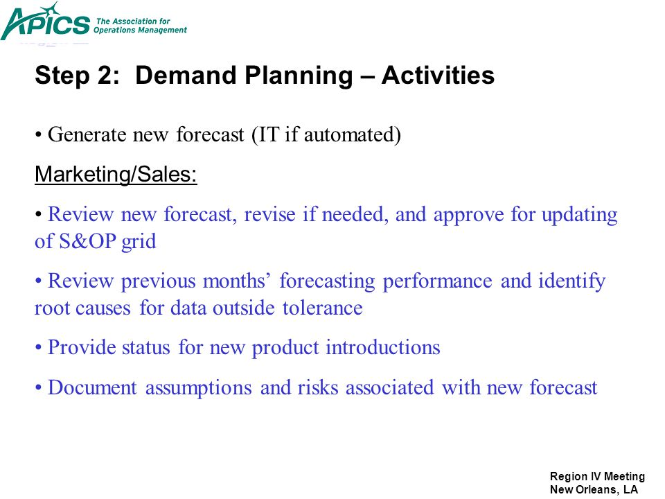 Step 2: Demand Planning – Activities