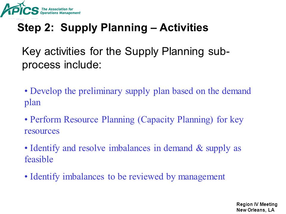 Step 2: Supply Planning – Activities