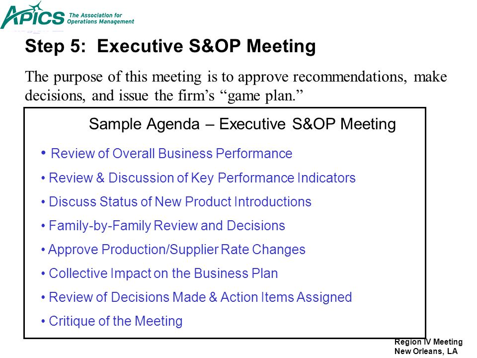 Sample Agenda – Executive S&OP Meeting