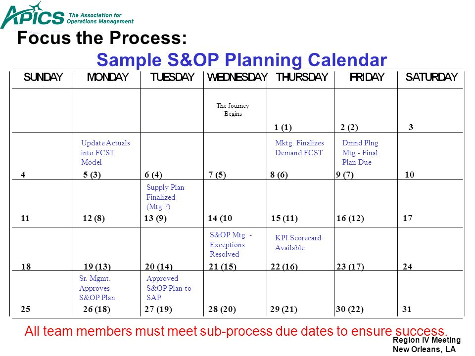 Sample S&OP Planning Calendar