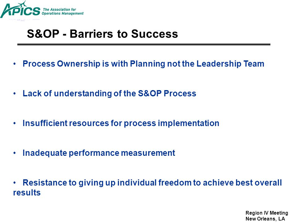 S&OP - Barriers to Success
