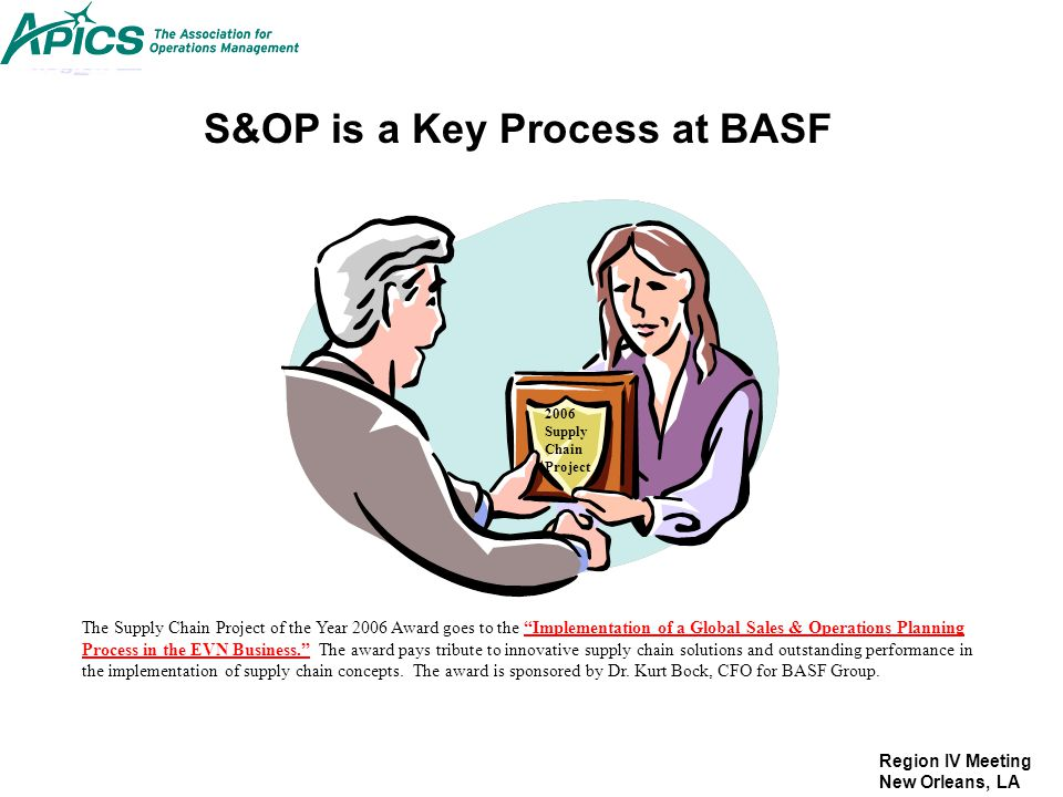 S&OP is a Key Process at BASF
