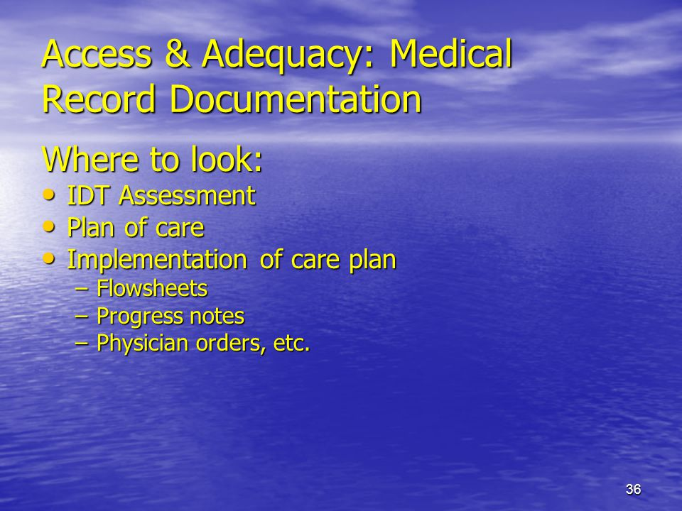 Access & Adequacy: Medical Record Documentation