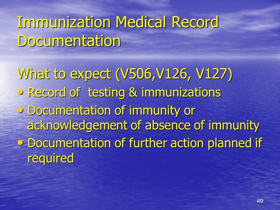 Immunization Medical Record Documentation