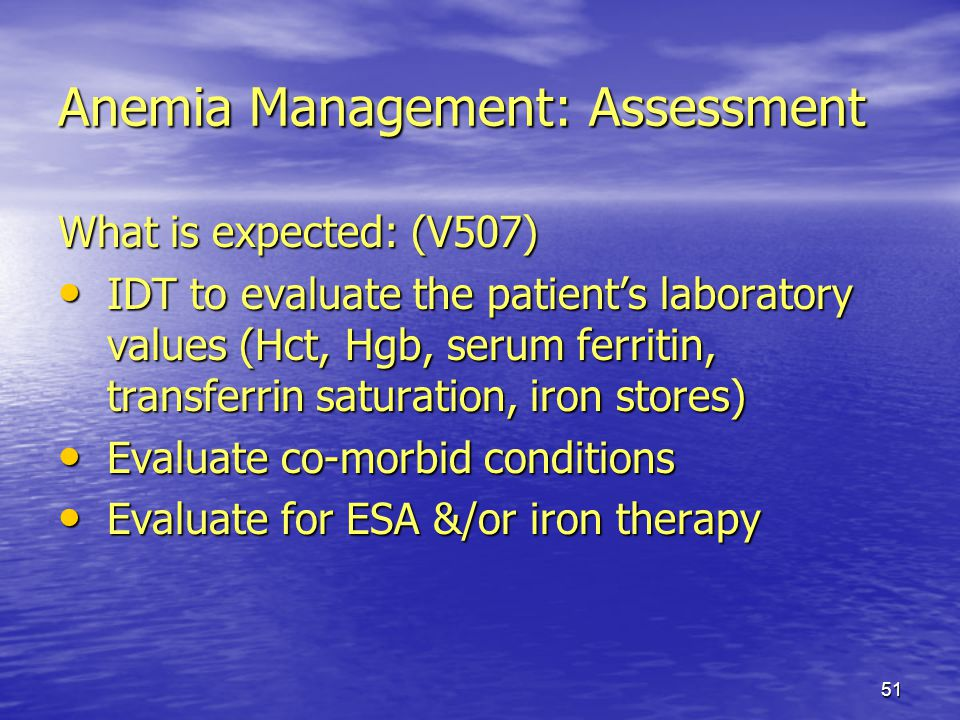 Anemia Management: Assessment