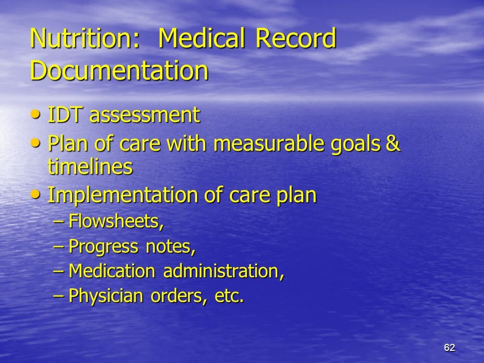 Nutrition: Medical Record Documentation