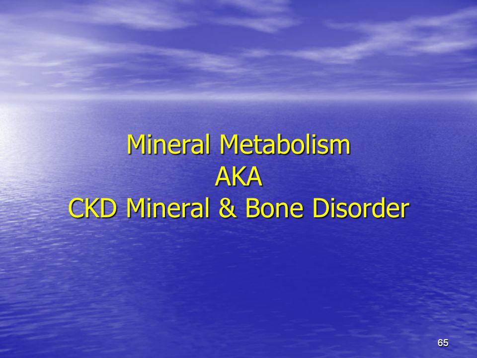 Mineral Metabolism AKA CKD Mineral & Bone Disorder