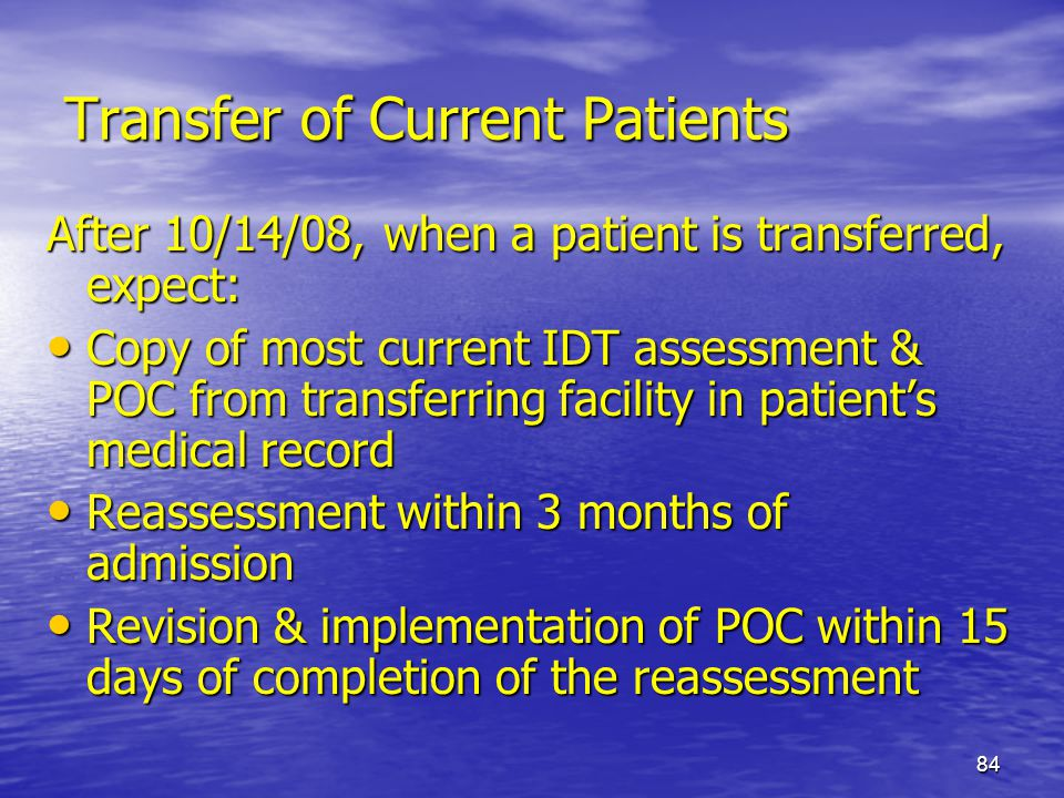Transfer of Current Patients