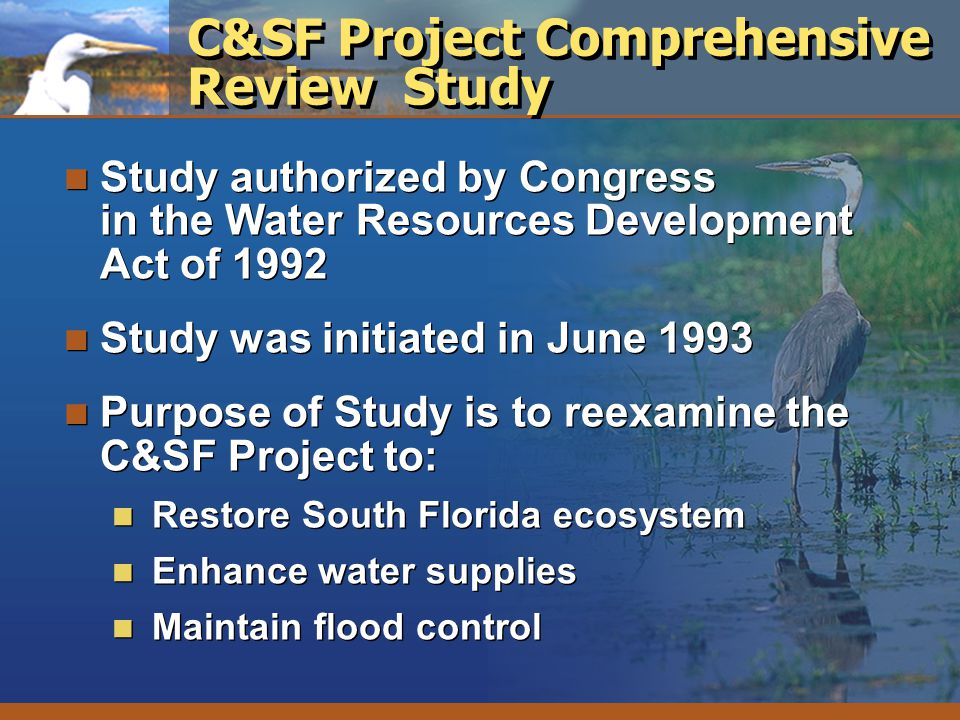 C&SF Project Comprehensive Review Study