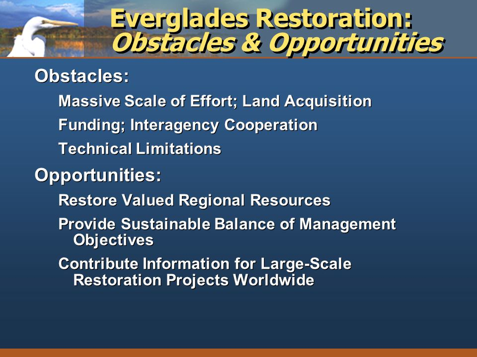 Everglades Restoration: Obstacles & Opportunities