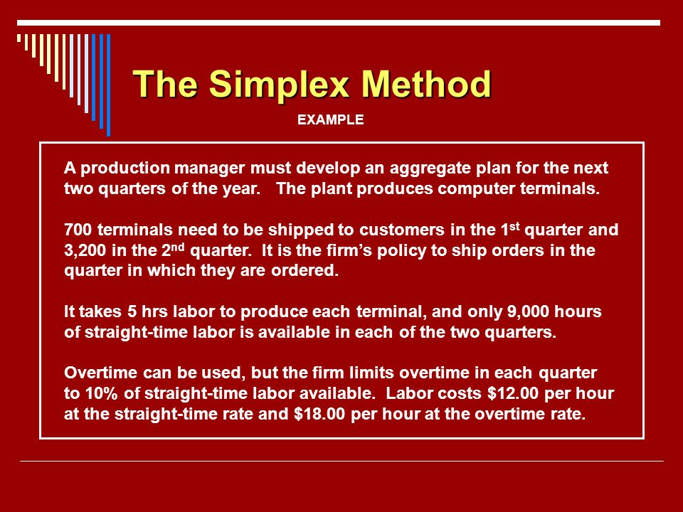 The Simplex Method EXAMPLE. A production manager must develop an aggregate plan for the next.