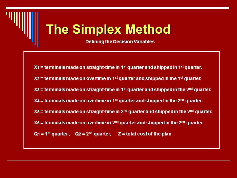 The Simplex Method Defining the Decision Variables