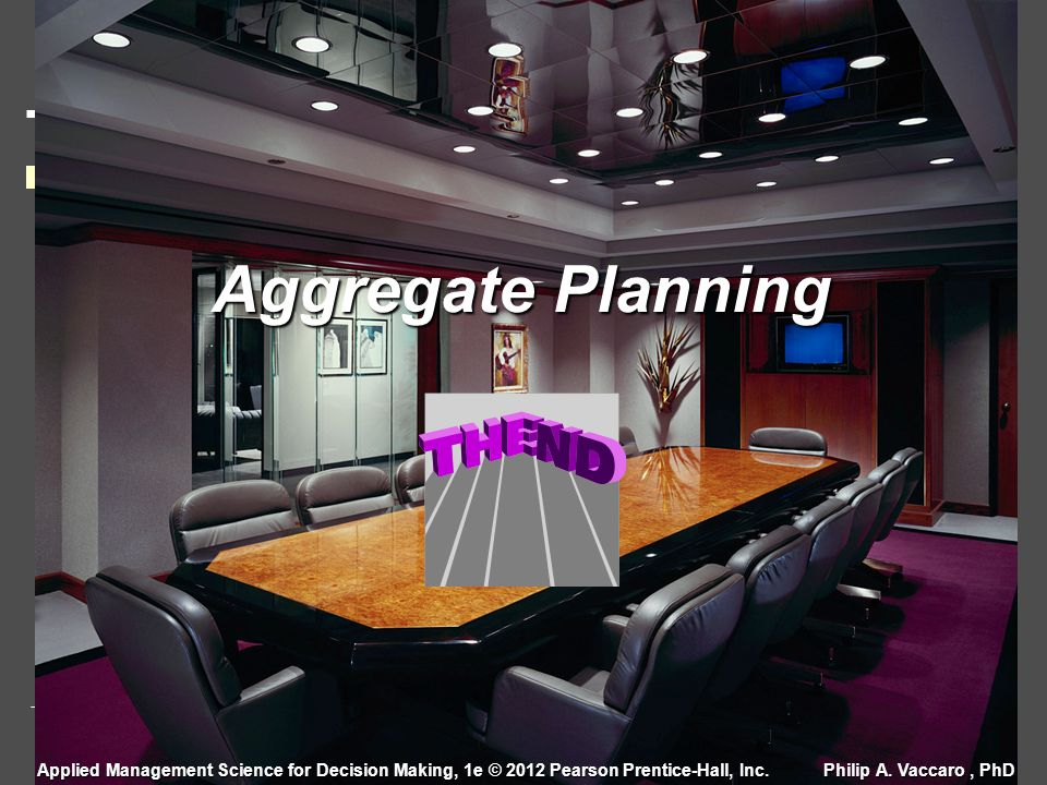 Aggregate Planning Applied Management Science for Decision Making, 1e © 2012 Pearson Prentice-Hall, Inc.