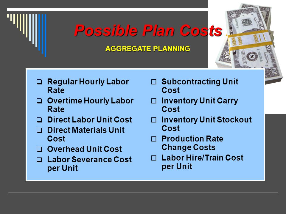 Possible Plan Costs Regular Hourly Labor Rate