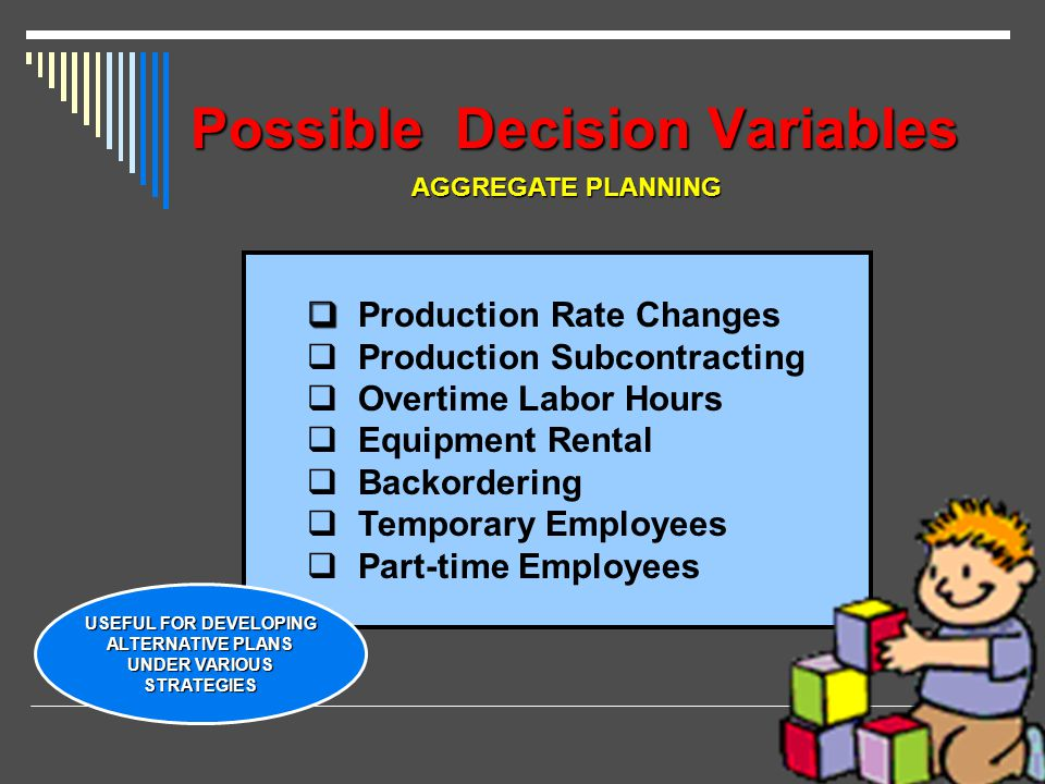 Possible Decision Variables