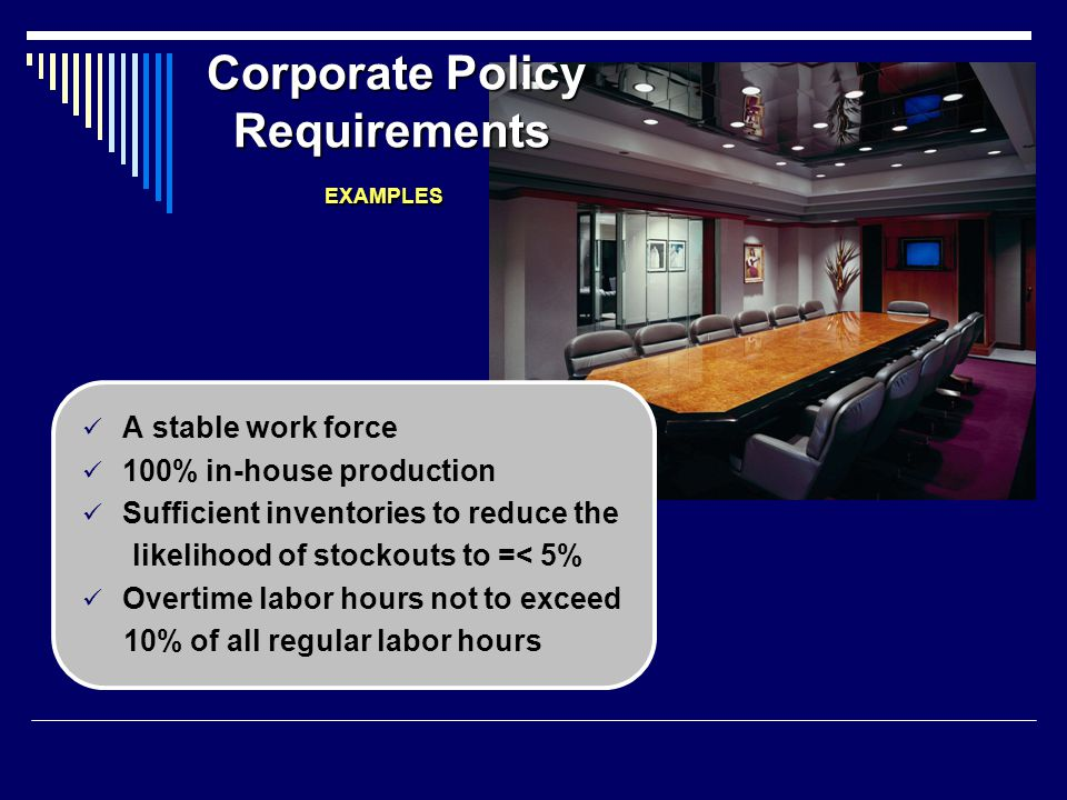 Corporate Policy Requirements EXAMPLES