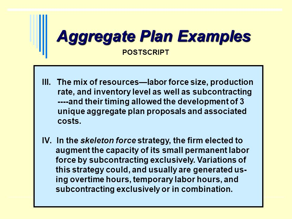 Aggregate Plan Examples