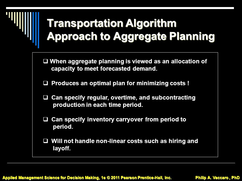Transportation Algorithm Approach to Aggregate Planning