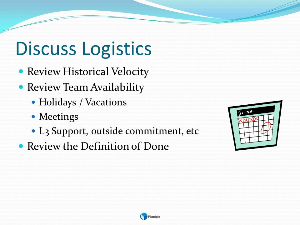 Discuss Logistics Review Historical Velocity Review Team Availability