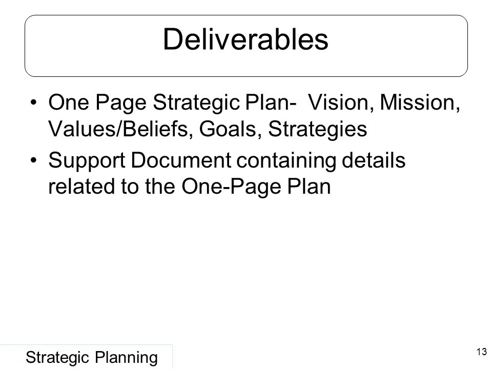 Deliverables One Page Strategic Plan- Vision, Mission, Values/Beliefs, Goals, Strategies.