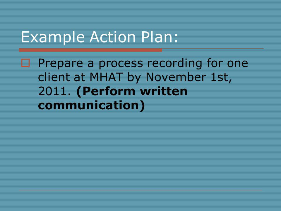 Example Action Plan: Prepare a process recording for one client at MHAT by November 1st, 2011.