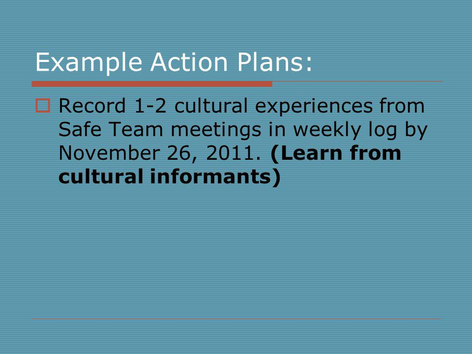 Example Action Plans: Record 1-2 cultural experiences from Safe Team meetings in weekly log by November 26, 2011.
