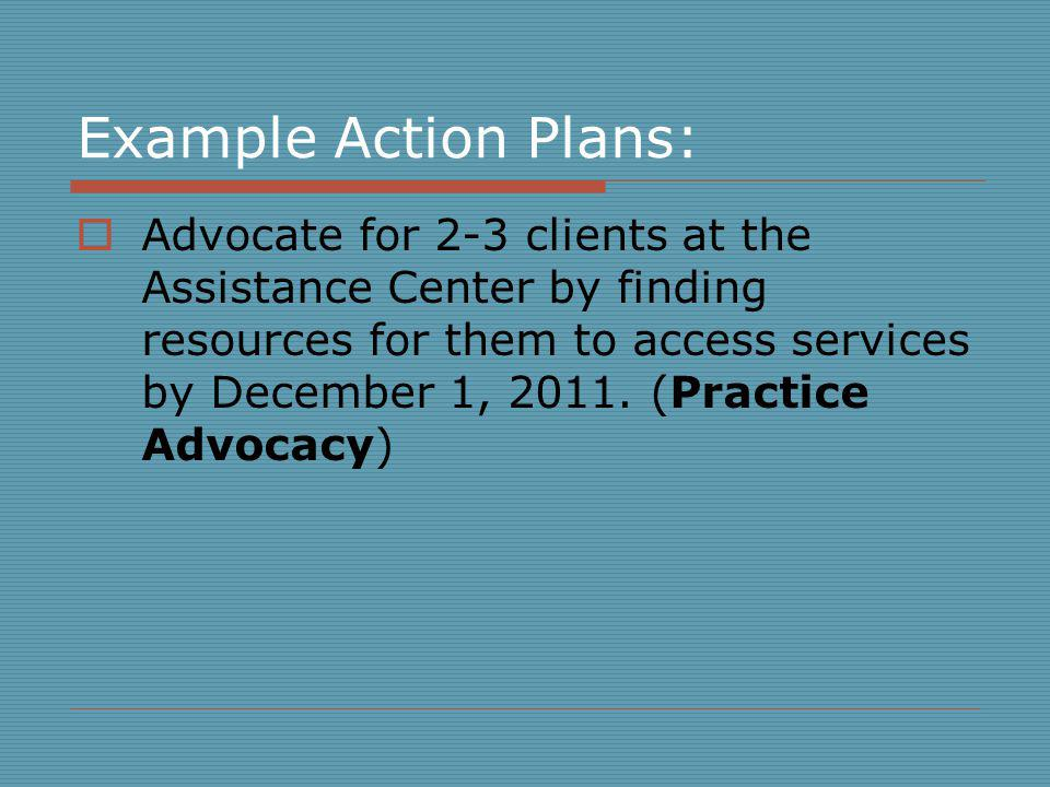 Example Action Plans: