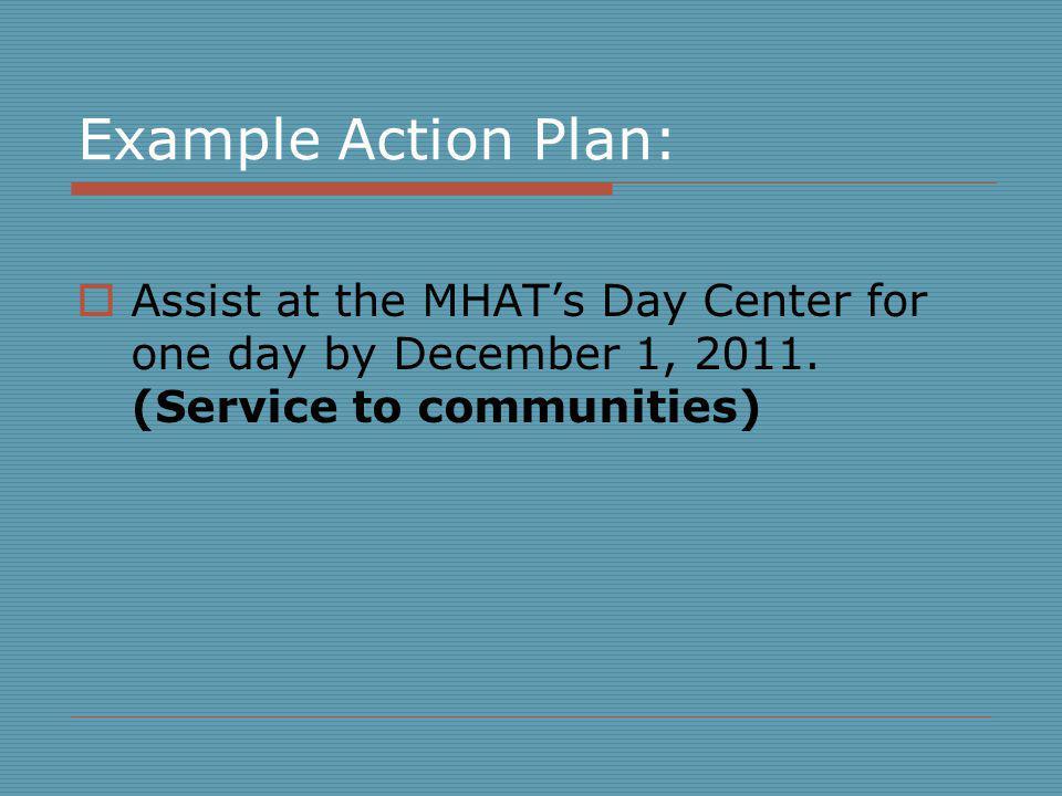 Example Action Plan: Assist at the MHAT's Day Center for one day by December 1, 2011.
