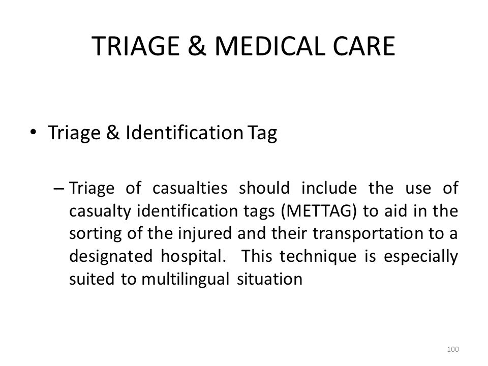TRIAGE & MEDICAL CARE Triage & Identification Tag