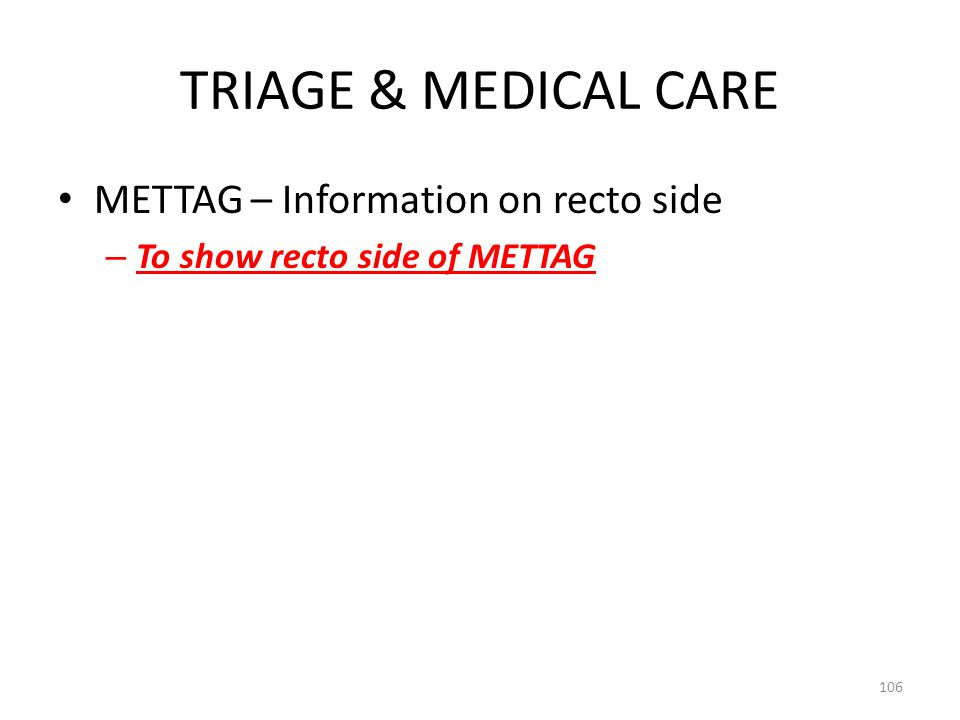 TRIAGE & MEDICAL CARE METTAG – Information on recto side