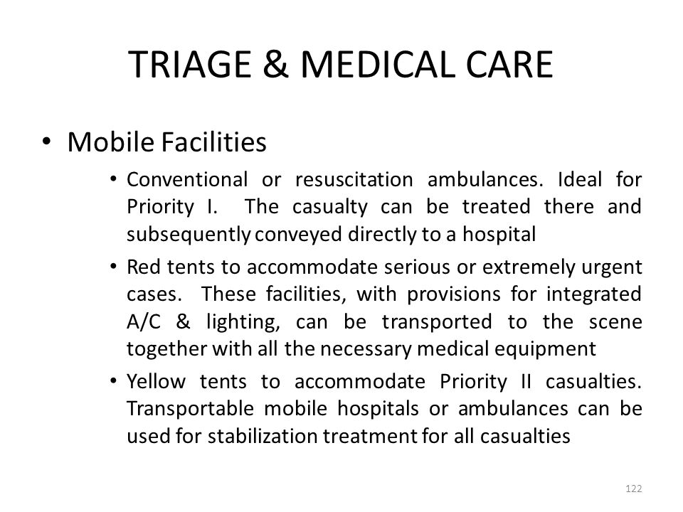 TRIAGE & MEDICAL CARE Mobile Facilities