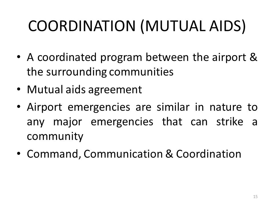 COORDINATION (MUTUAL AIDS)