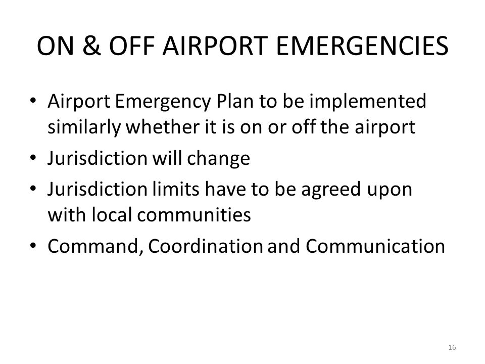 ON & OFF AIRPORT EMERGENCIES