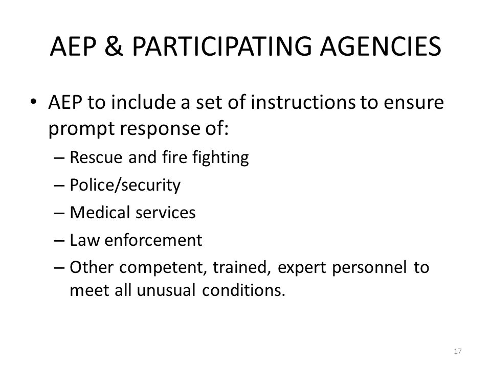 AEP & PARTICIPATING AGENCIES