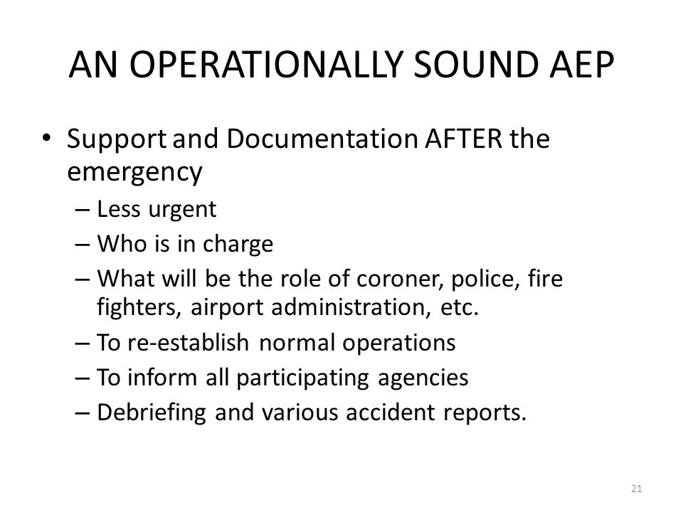 AN OPERATIONALLY SOUND AEP