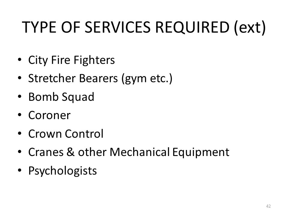 TYPE OF SERVICES REQUIRED (ext)