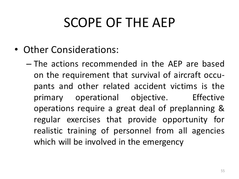 SCOPE OF THE AEP Other Considerations: