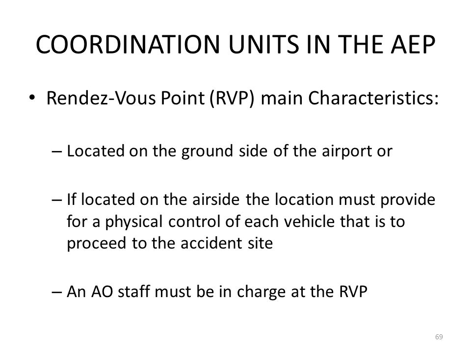 COORDINATION UNITS IN THE AEP