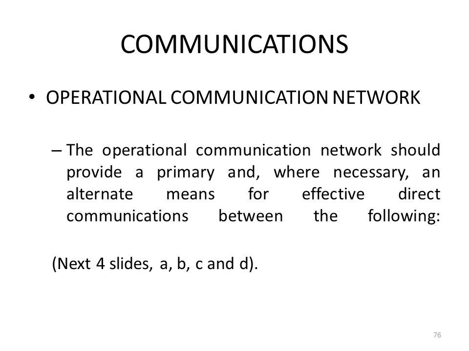 COMMUNICATIONS OPERATIONAL COMMUNICATION NETWORK