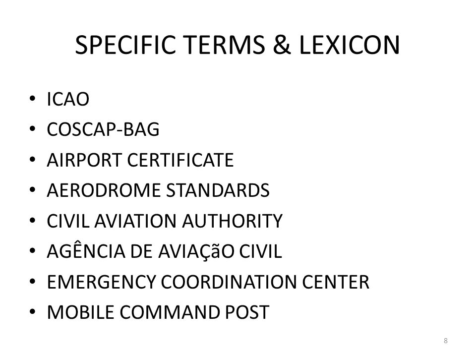 SPECIFIC TERMS & LEXICON