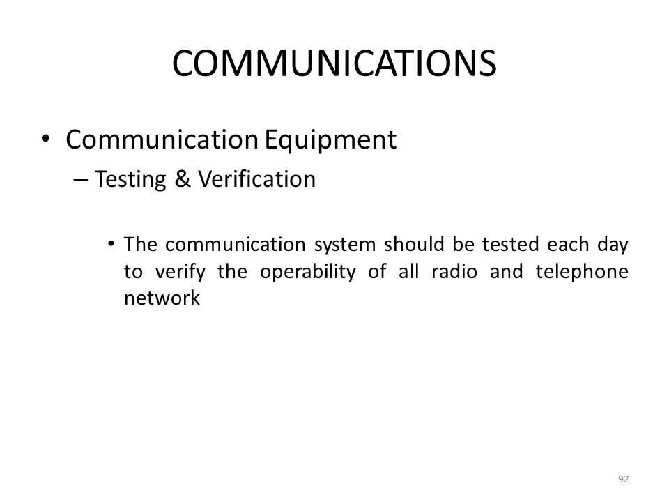 COMMUNICATIONS Communication Equipment Testing & Verification