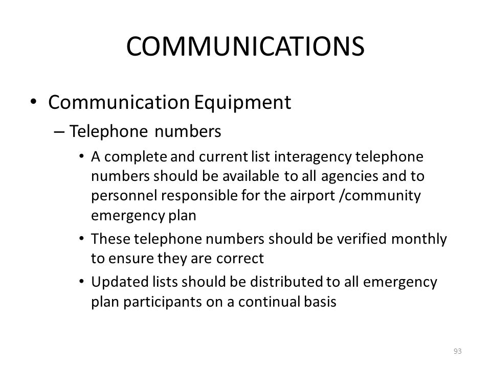 COMMUNICATIONS Communication Equipment Telephone numbers