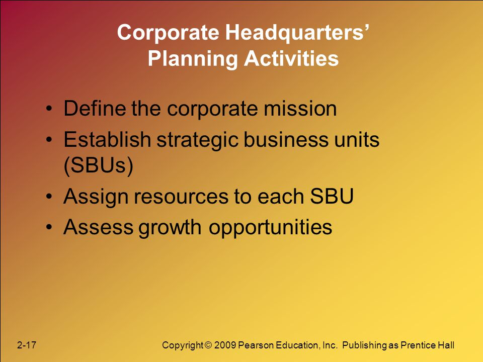 Corporate Headquarters' Planning Activities