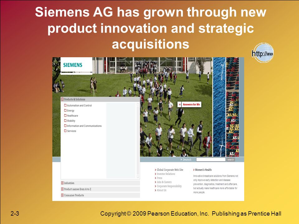 Siemens AG has grown through new product innovation and strategic acquisitions