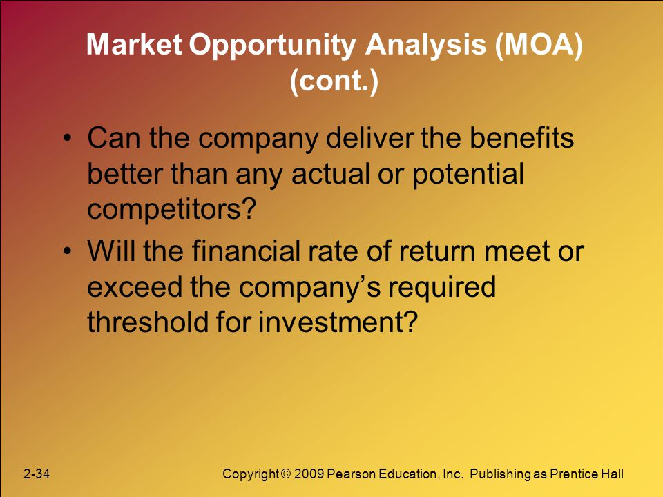 Market Opportunity Analysis (MOA) (cont.)
