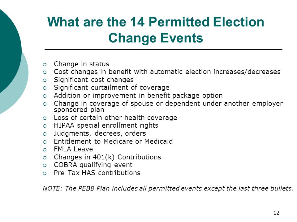 What are the 14 Permitted Election Change Events