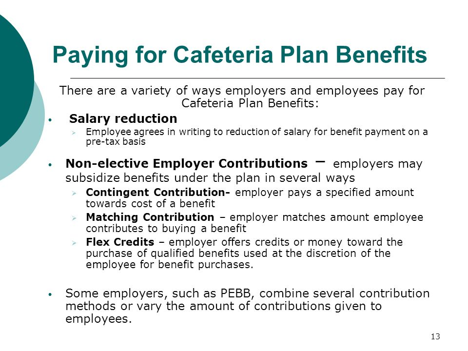 Paying for Cafeteria Plan Benefits