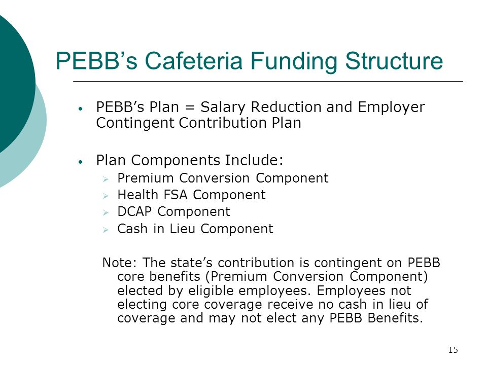 PEBB's Cafeteria Funding Structure