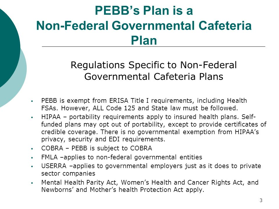 PEBB's Plan is a Non-Federal Governmental Cafeteria Plan