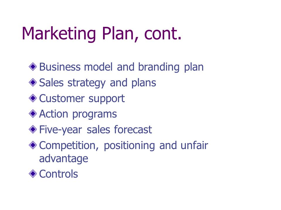 Marketing Plan, cont. Business model and branding plan